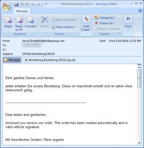 電郵同時具備德文和英文,附件已變成ZIP壓縮檔。